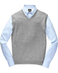 Jos. A. Bank | Gray Traveler Collection Traditional Fit Merino Sweater Vest for Men | Lyst