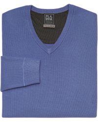 Jos. A. Bank - Blue Travel Tech V-neck Merino Wool-blend Sweater for Men - Lyst