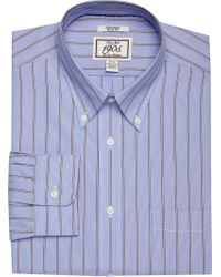 Jos. A. Bank Blue 1905 Collection Slim Fit Button-down Collar Wide Stripe Dress Shirt for men