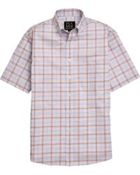 Jos. A. Bank - Classic Collection Traditional Fit Blue & Orange Plaid Short Sleeve Sportshirt Big & Tall for Men - Lyst