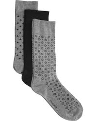 Jos. A. Bank - Gray Geometric Patterned Fleur De Lis Dress Socks, 3-pack for Men - Lyst