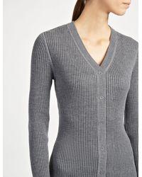 Joseph - Gray Wool Silk Cashmere Rib V Neck Cardigan - Lyst