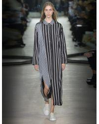JOSEPH - Black Hetty Striped Satin Shirt Dress - Lyst