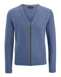 JOSEPH | Blue Boiled Knit Zip Cardigan for Men | Lyst