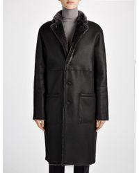 JOSEPH Gray Reversible Polar Skin Brittany Sheepskin Coat