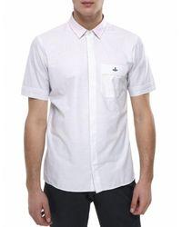 Vivienne Westwood White Short Sleeve Check Shirt for men
