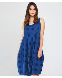Grizas - Blue Linen Textured Spot Dress - Lyst