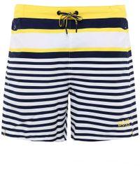 BOSS White Striped Bannerfish Swim Shorts for men