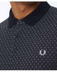 Fred Perry - Gray Graphic Print Polo Shirt for Men - Lyst