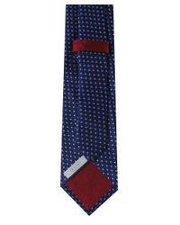 Eton of Sweden Blue Scalloped Semi Circle Silk Tie for men