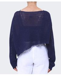 Crea Concept Blue Cropped Asymmetric Linen Jumper