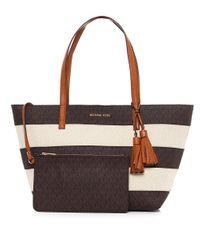 MICHAEL Michael Kors Brown Stripe Canvas Tote Bag