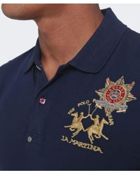La Martina Blue Guards Long Sleeve Polo Shirt for men