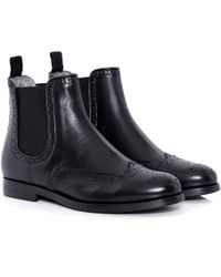 H by Hudson Black Asta Brogue Chelsea Boots