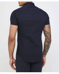 Armani Blue Slim Fit Short Sleeve Shirt for men