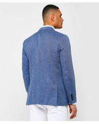 Gant Blue Linen Herringbone Blazer for men