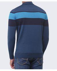 John Smedley Blue Long Sleeve Pelton Stripe Polo Shirt for men
