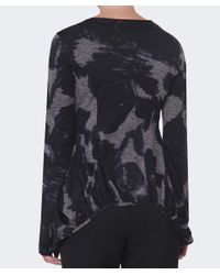 Rundholz Gray Ink Print Curved Hem Top