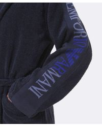 Emporio Armani | Blue Logo Sleeve Bathrobe for Men | Lyst