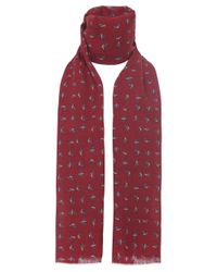 Ascot Accessories Red Pheasant Print Scarf for men