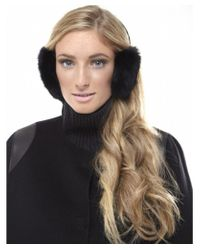 Yves Salomon Black Rabbit Fur Ear Muffs