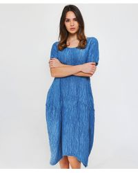 Grizas - Blue Linen Textured T-shirt Dress - Lyst