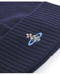 Vivienne Westwood Blue Orb Beanie Hat for men