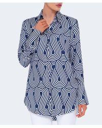 Victoria, Victoria Beckham - Blue Looped Wave Silk Shirt - Lyst