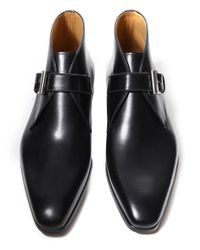 Magnanni Shoes Black Leather Monk Strap Boots for men