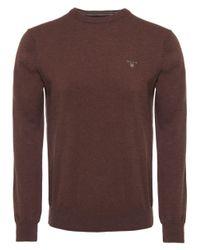 Gant Brown Cotton Wool Crew Jumper for men