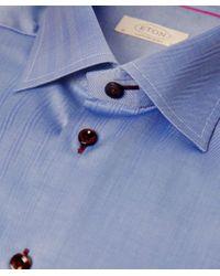 Eton of Sweden Blue Contemporary Fit Herringbone Shirt for men