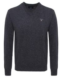 Gant Gray V-neck Lambswool Jumper for men