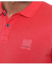 BOSS Orange Pink Slim Fit Salt Wash Pascha Polo Shirt for men