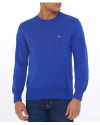 Vivienne Westwood - Blue Knitted Cotton Crew Neck Jumper for Men - Lyst