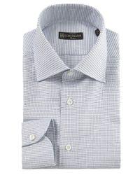 Corneliani Blue Square Print Shirt for men