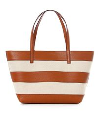 MICHAEL Michael Kors Natural Stripe Canvas And Leather Tote Bag