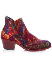 H by Hudson - Red Apisi Liberty Velvet Boots - Lyst