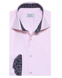 Stenstroms Pink Fitted Twill Woven Shirt for men
