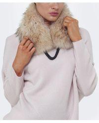 Yves Salomon Natural Fur Collar With Chain