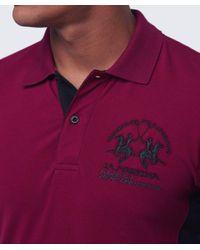 La Martina Purple Slim Fit Maserati Polo Shirt for men