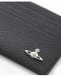 Vivienne Westwood Black Leather Grain Orb Card Holder for men