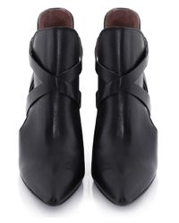 H by Hudson Black Geneve Cut Out Boot Heels
