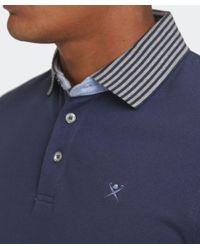 Hackett Blue Slim Fit Striped Collar Polo Shirt for men