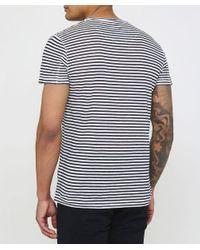 120% Lino Blue Linen Crew Neck Striped T-shirt for men
