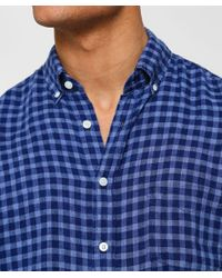 Hackett Blue Slim Fit Linen Gingham Shirt for men