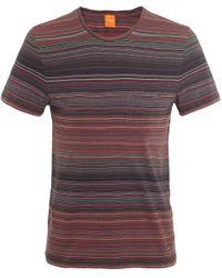 BOSS Orange Green Crew Neck Striped Tedryk T-shirt for men