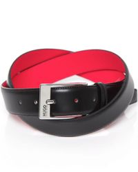 HUGO | Black Leather Barney Belt for Men | Lyst