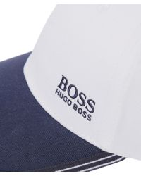 BOSS Green - White Logo Cap for Men - Lyst