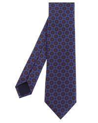 Corneliani | Blue Circle Print Silk Tie for Men | Lyst