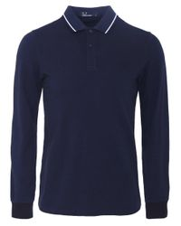 Fred Perry | Blue Long Sleeve Twin Tipped Polo Shirt for Men | Lyst